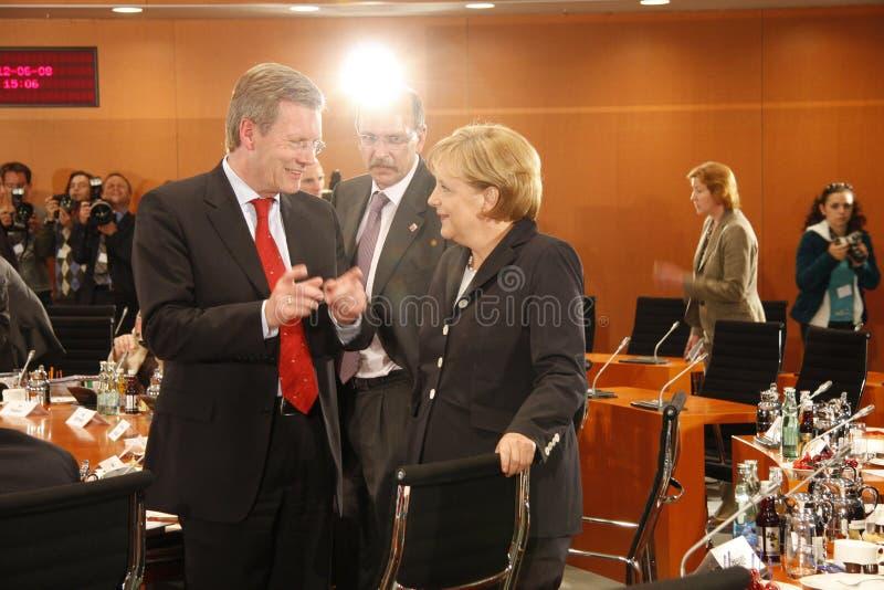 Christian Wulff, Angela Merkel stockfotografie