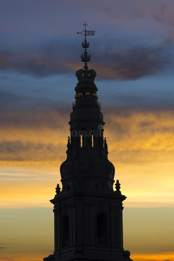 Christianborg宫殿尖顶  库存照片