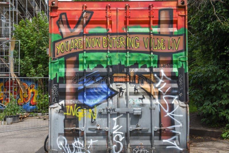 Christiania alternativ gemenskap på Köpenhamnen på Danmark fotografering för bildbyråer