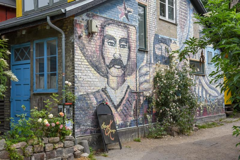 Christiania alternativ gemenskap på Köpenhamnen på Danmark royaltyfri fotografi