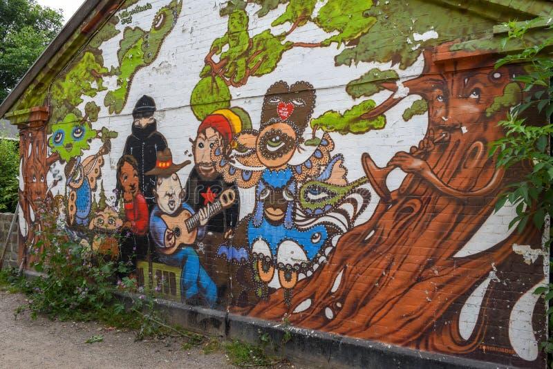 Christiania alternativ gemenskap på Köpenhamnen på Danmark royaltyfria bilder