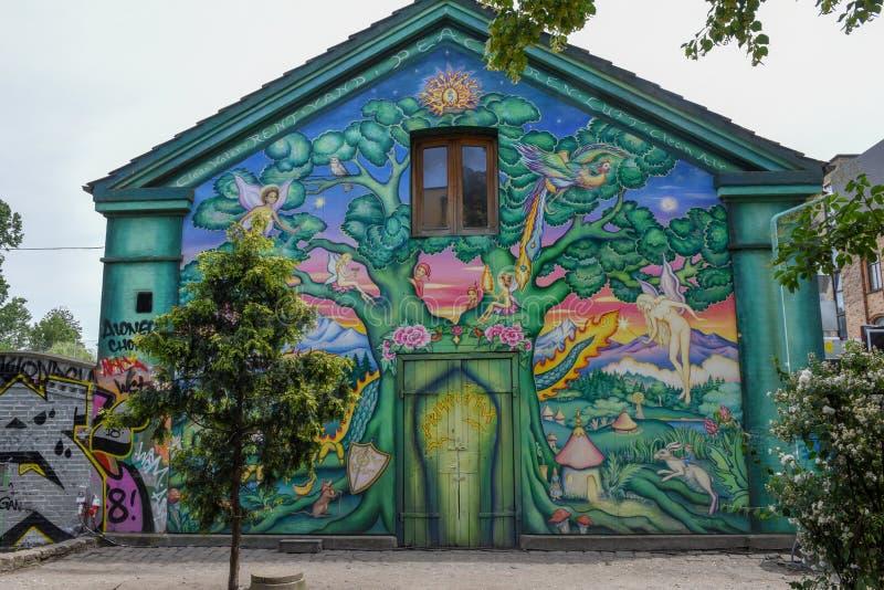 Christiania alternativ gemenskap på Köpenhamnen på Danmark arkivbild