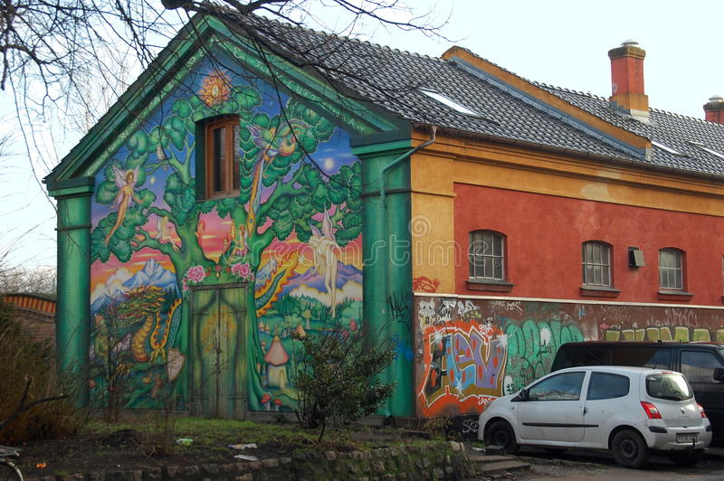 Christiania, Freetown à Copenhague, Danemark images stock