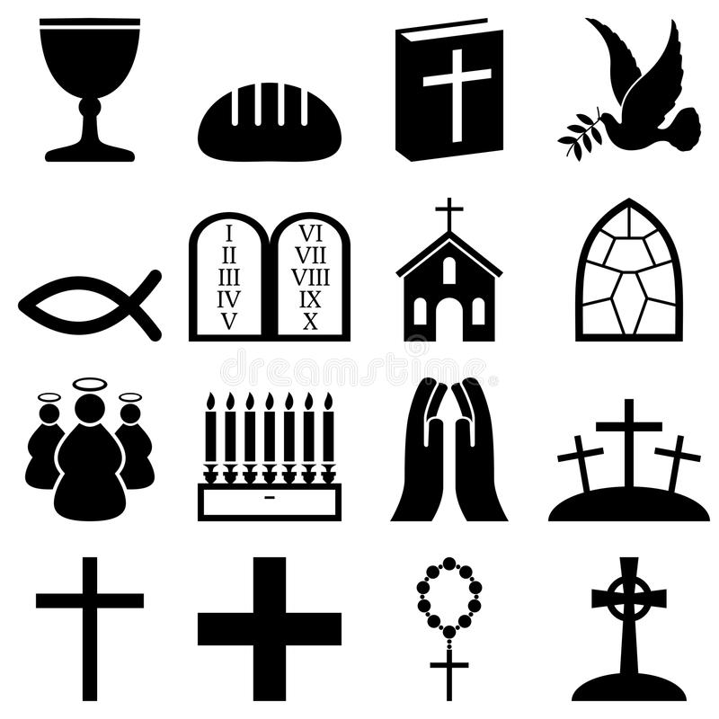 Christianity Black & White Icons. Collection of 16 black and white Christianity icons, isolated on white background. Eps file available stock illustration