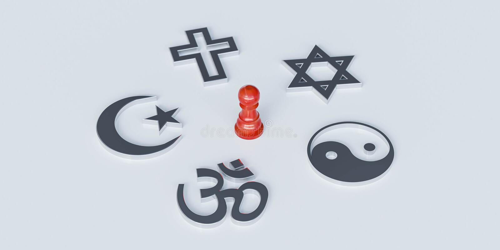 Christianity, Catholicism, Buddhism, Judaism, Islam symbols on with red wooden dummy. chosing between religions or conflict 3d. World religions concept stock illustration