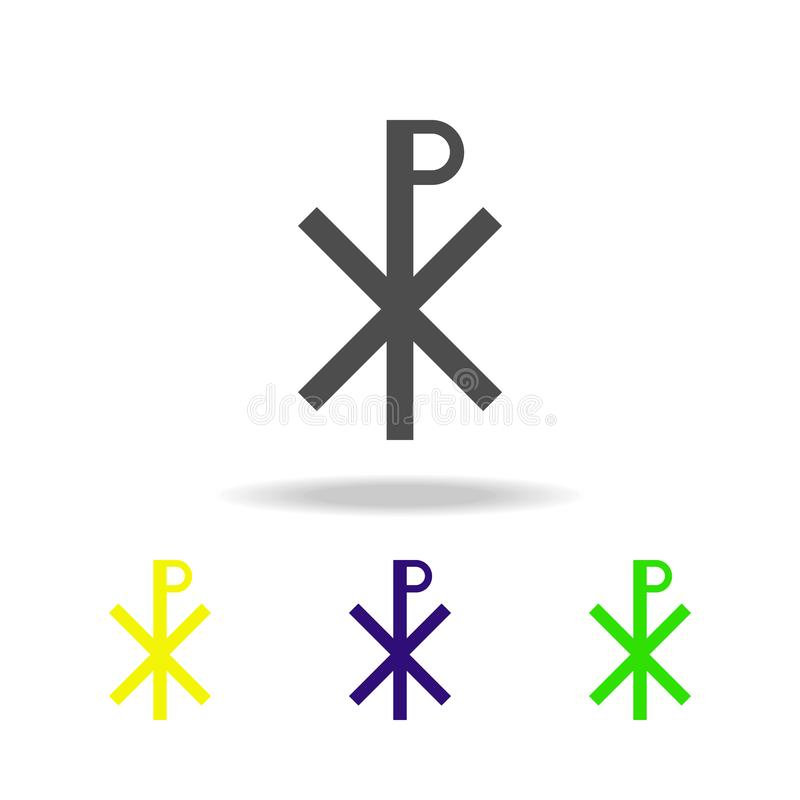 Christianity Chi Rho sign multicolored icon. Detailed Christianity Chi Rho icon can be used for web, logo, mobile app, UI, UX royalty free illustration