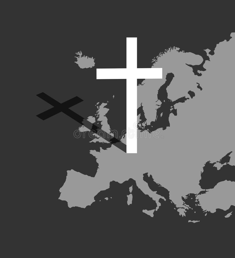 Christianity and Europe vector illustration