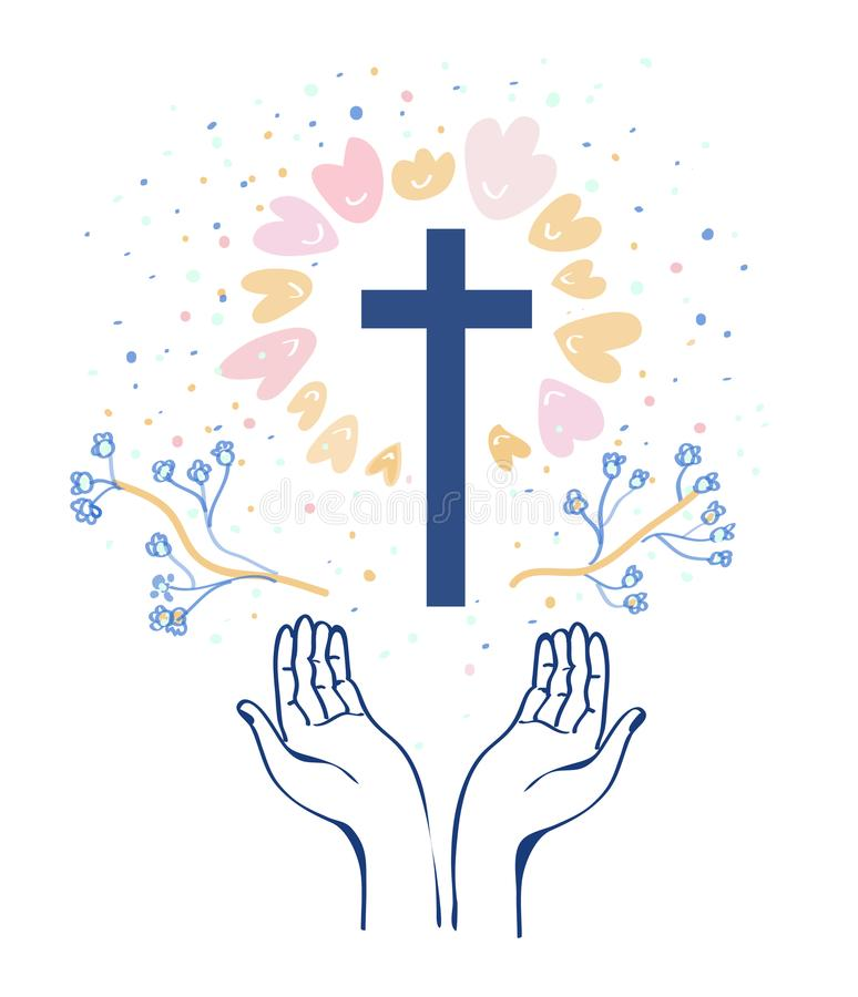 Christianity religion background with hands or prayer and cross, flowers around. Vector illustration stock illustration