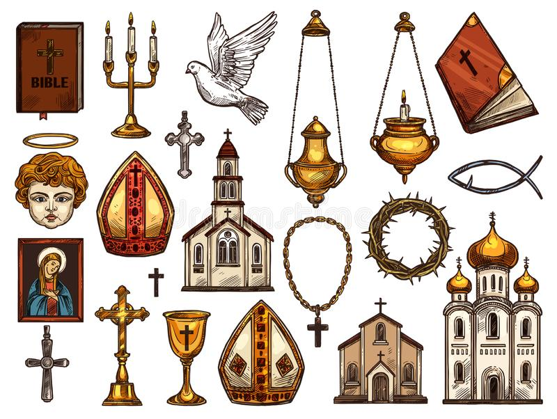 Christianity religion orthodox, catholic symbols. Orthodox and catholic or evangelic and protestant Christianity religion symbols. Vector isolated sketch stock illustration