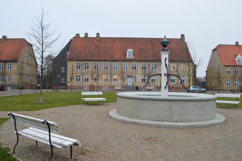 Christiansfeld, uno stabilimento della chiesa di Moravian fotografie stock libere da diritti