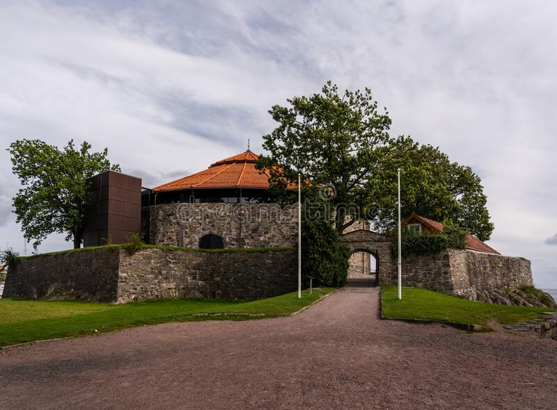 Entrance to Christiansholm Fortress in Kristiansand city in Norway. Christiansholm Fortress in Kristiansand Norway was built to defend the city in 1672 stock image