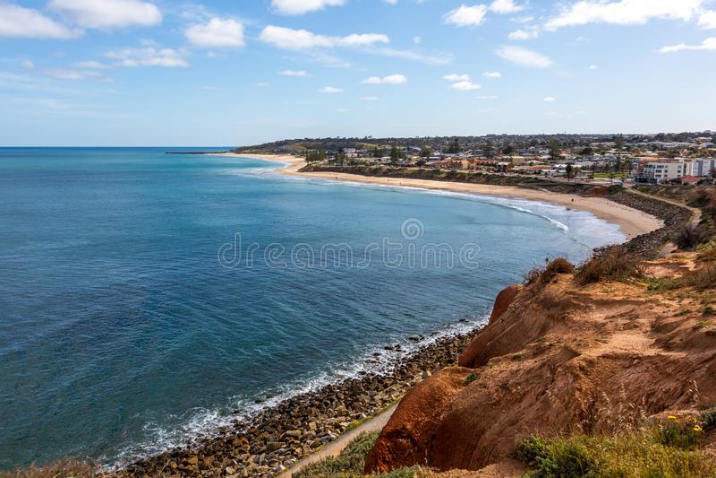Christies Beach Foreshore am sonnigen Tag in Adelaide South Australia am 9. Oktober 2019 lizenzfreie stockfotos