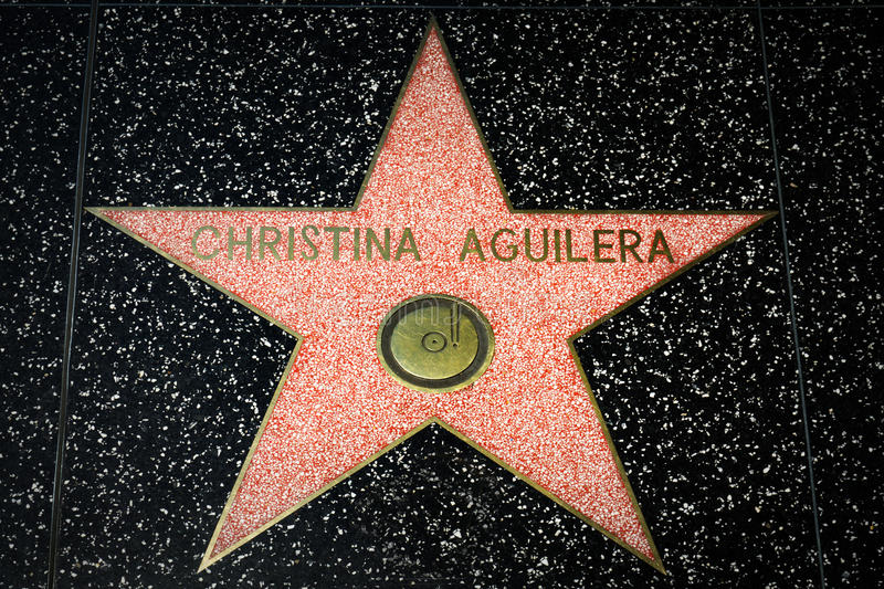 Christina Aguilera Star op de Hollywood-Gang van Bekendheid stock foto's