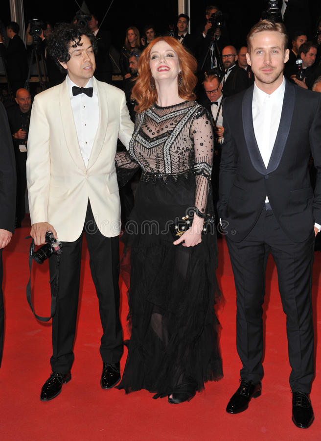 Christina Hendricks & Geoffrey Arend & Ryan Gosling fotos de stock royalty free