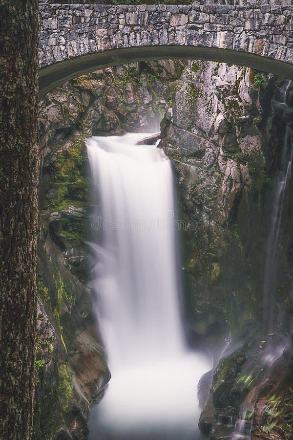 Christine Falls na montagem Rainier National Park fotografia de stock royalty free