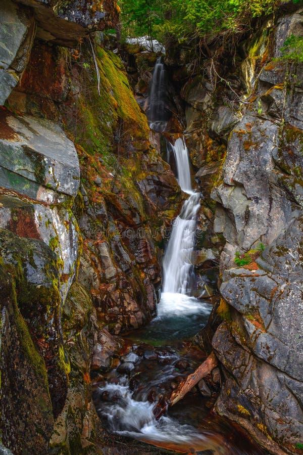 Christine Falls sur Van Trump Creek, Mt Rainier National Park photographie stock