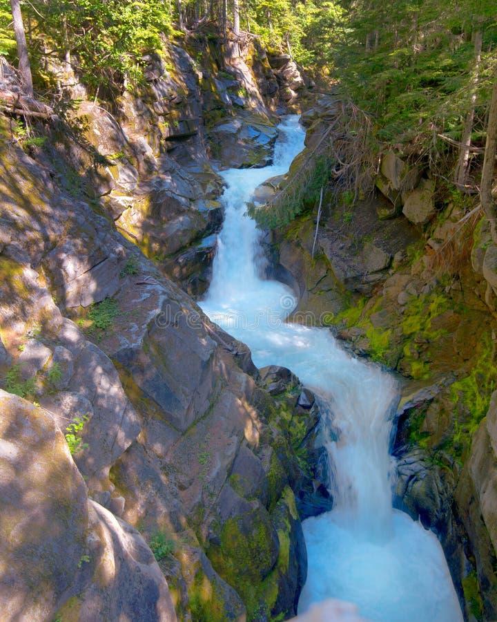 Christine Falls, Van Trump Creek, bâti Rainier Na photo stock