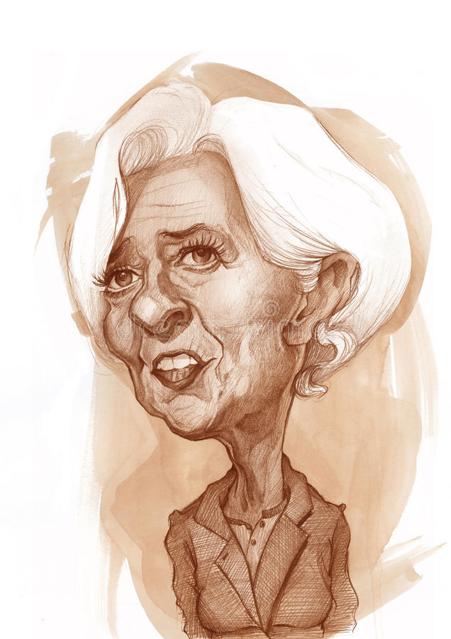 Christine Lagarde. Christine' s Lagarde caricature sketch for editorial use, for news, magazines and web