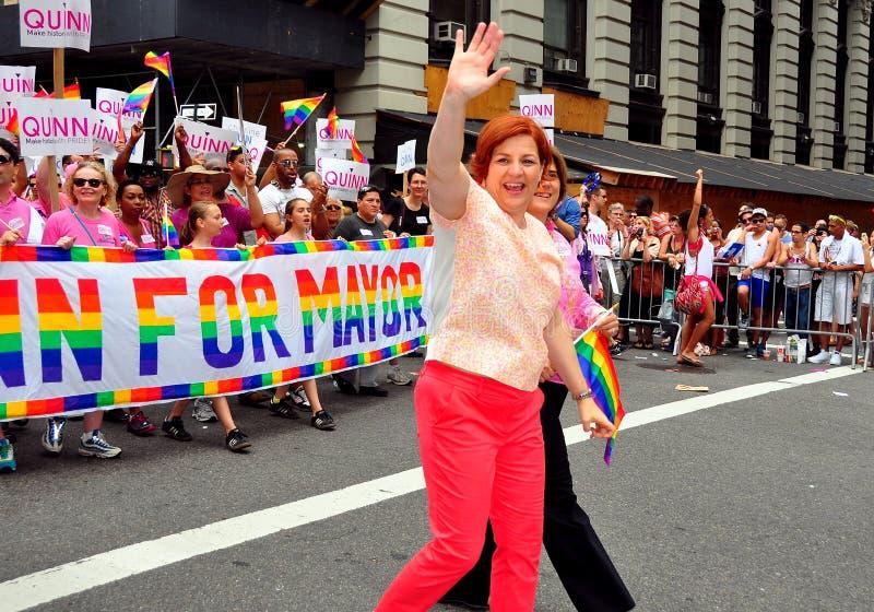 Christine Quinn, NYC rada mówca przy Homoseksualnej dumy paradą, fotografia stock