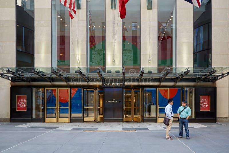 Christine ` s amerykanina gałąź wejście z ludźmi w Nowy Jork zdjęcie royalty free