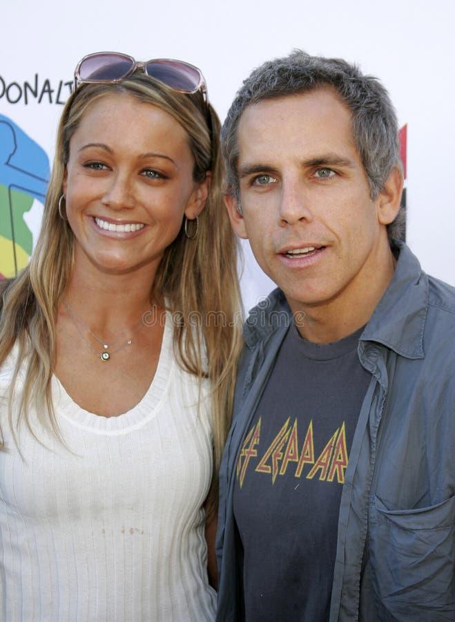 Christine Taylor en Ben Stiller stock foto