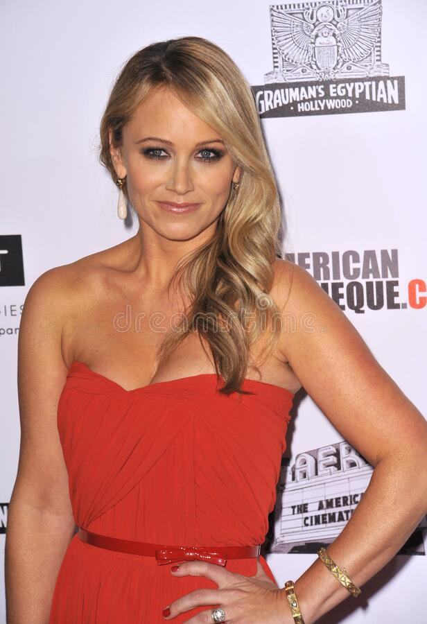 Christine Taylor. LOS ANGELES, CA - November 15, 2012: Christine Taylor at the 26th Annual American Cinematheque Awards Ceremony honoring her husband Ben Stiller royalty free stock image