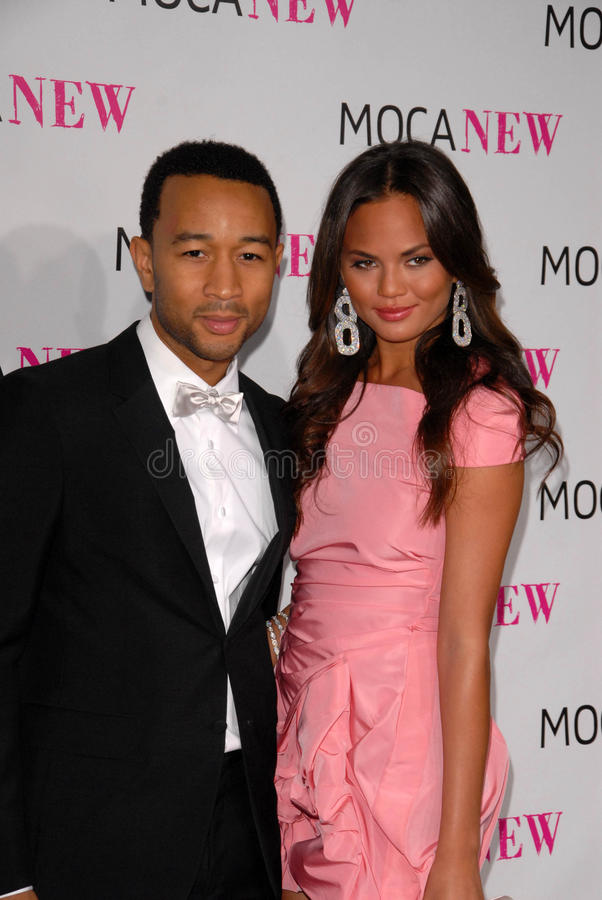 Christine Teigen,John Legend. John Legend and Christine Teigen at the MOCA New 30th Anniversary Gala, MOCA Grand Avenue, Los Angeles, CA. 11-14-09 stock image
