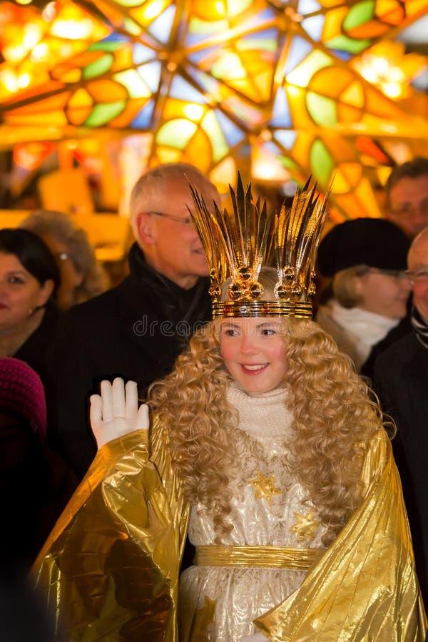 Christkind-Lantern Procession-Christmas-Nuremberg-Germany royalty free stock photos