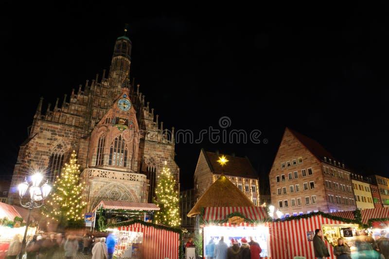 Christkindlesmarkt (julmarknad) i Nuremberg royaltyfri bild
