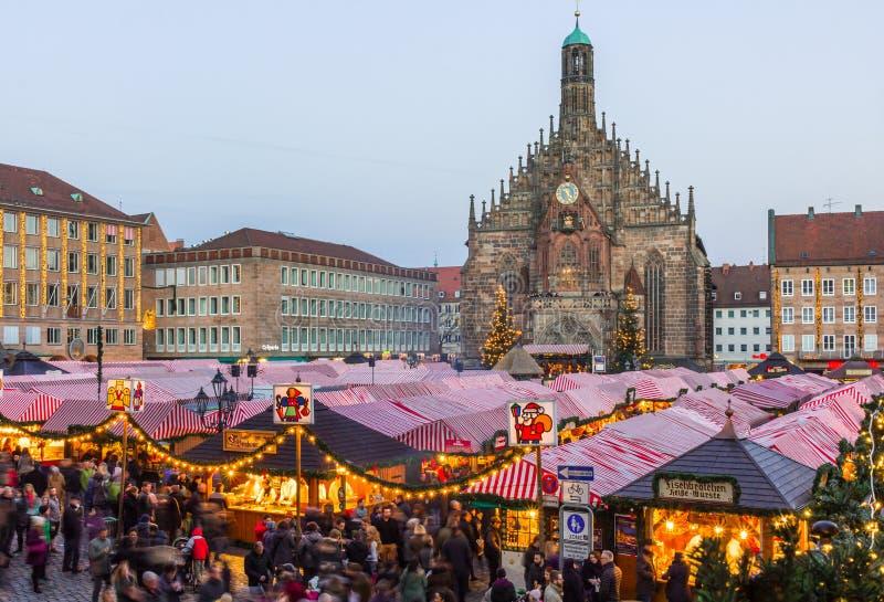 Christkindlesmarkt- Main Market Square-Nuremberg, Germany royalty free stock image