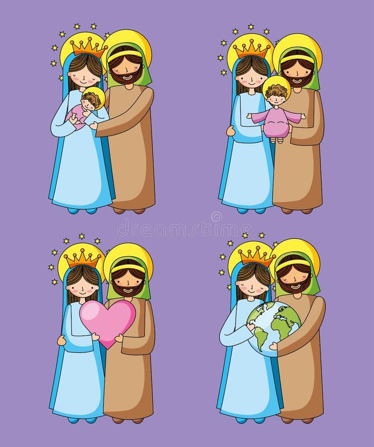 Christliche Karikaturen der heiligen Familie vektor abbildung