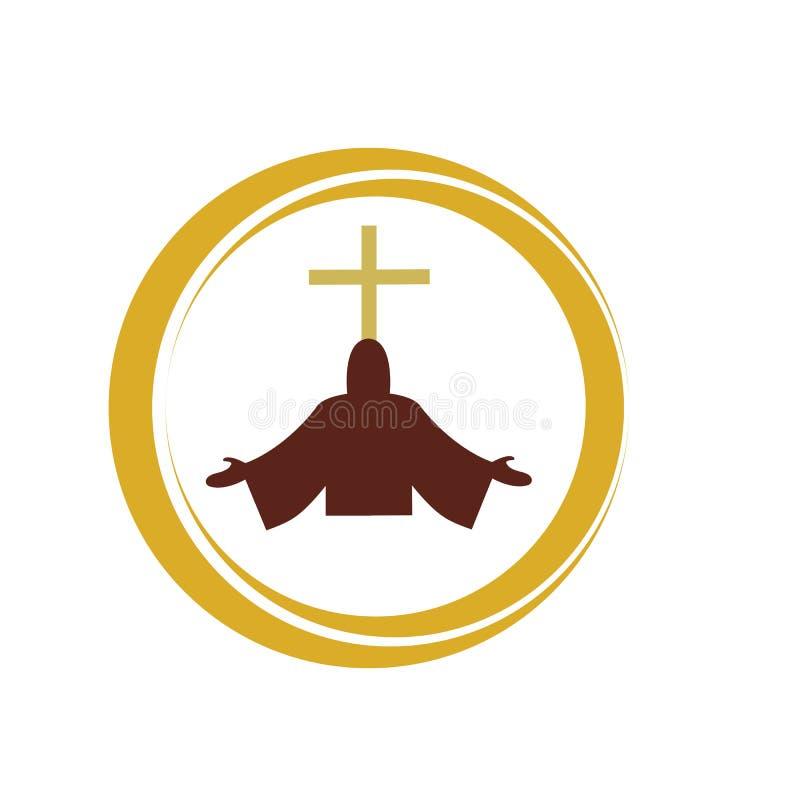 christliche Linie Kunstlogoentwurf, christliche Symbole der Kirche stock abbildung
