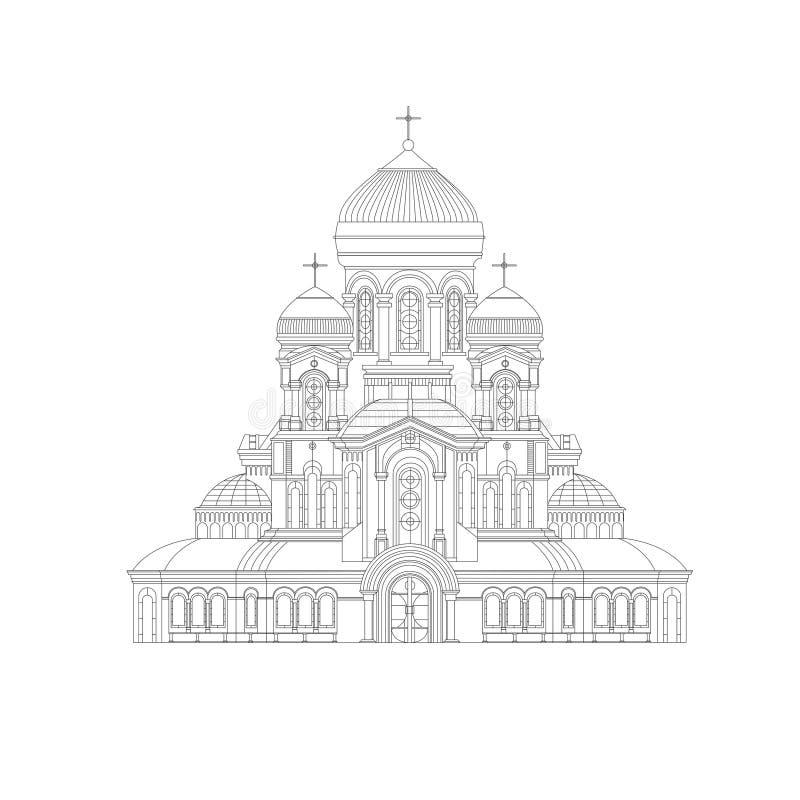 Christlicher gotischer Tempel Hand gezeichnete Skizze Dünne Linie alte Spaltentempel-Vektorillustration stock abbildung