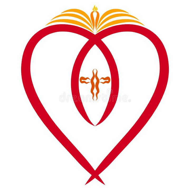 Christlicher Symbolismus, ein Herz mit einem symbolischen Fisch, ein offenes Buch mit Kerze und ein Kreuz vektor abbildung