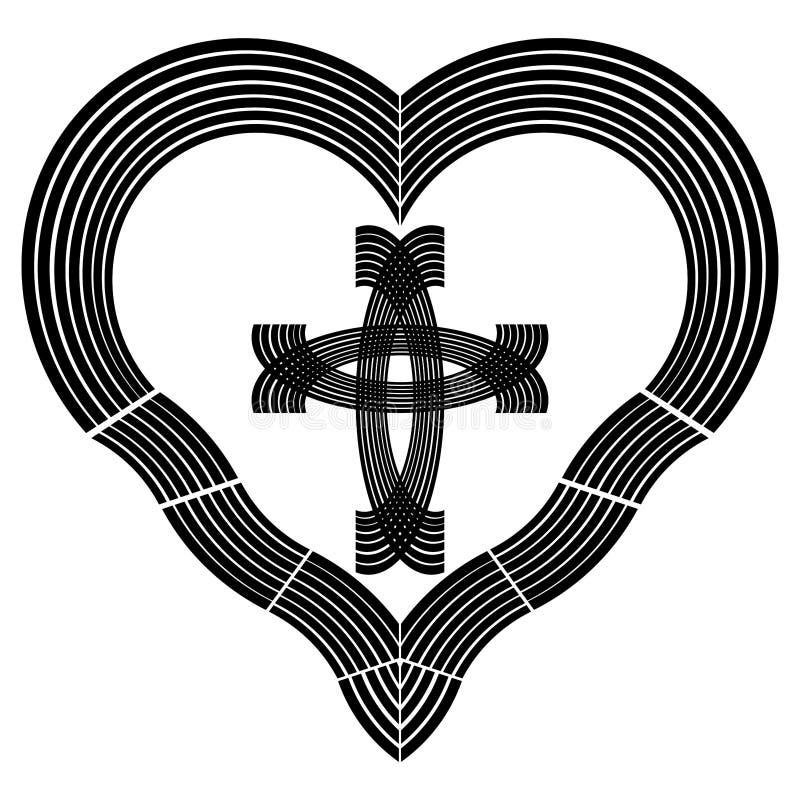 Christlicher Symbolismus, Götter lieben und Rettung, Herz mit einem Quer-, schwarzen Muster vektor abbildung