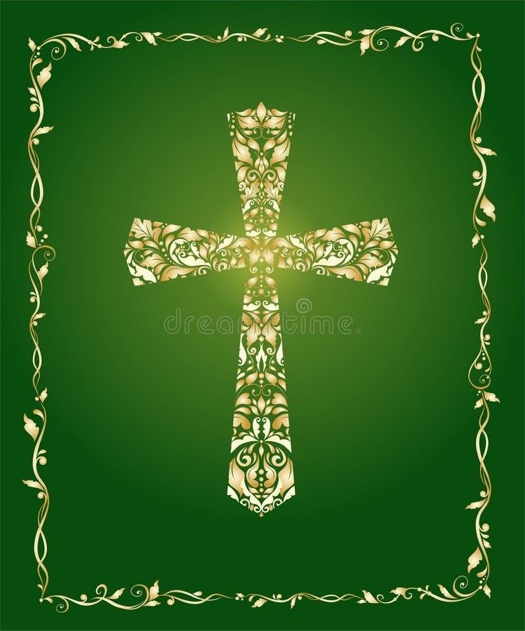 Christliches aufwändiges Kreuz mit Blumengoldmuster und Weinleserahmen auf grünem Hintergrund lizenzfreie abbildung