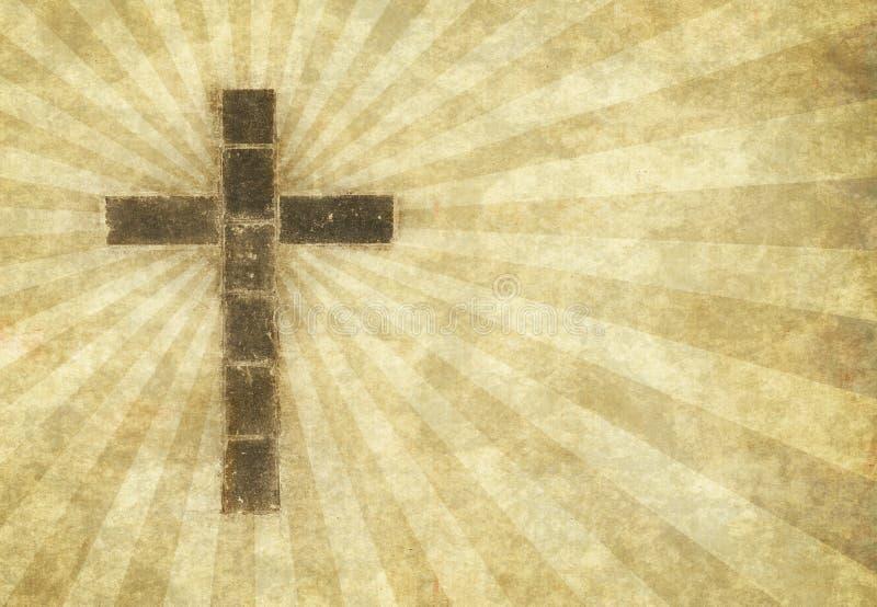 Christliches Kreuz auf Pergament stock abbildung