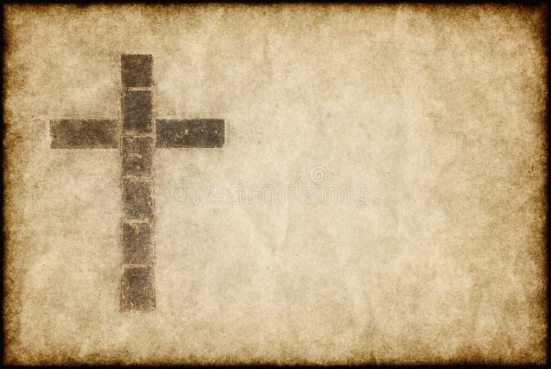 Christliches Kreuz auf Pergament lizenzfreie abbildung