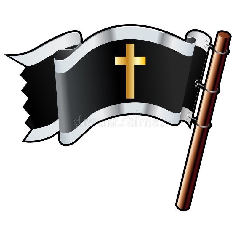 Christliches Kreuz auf schwarzer Flagge lizenzfreie abbildung