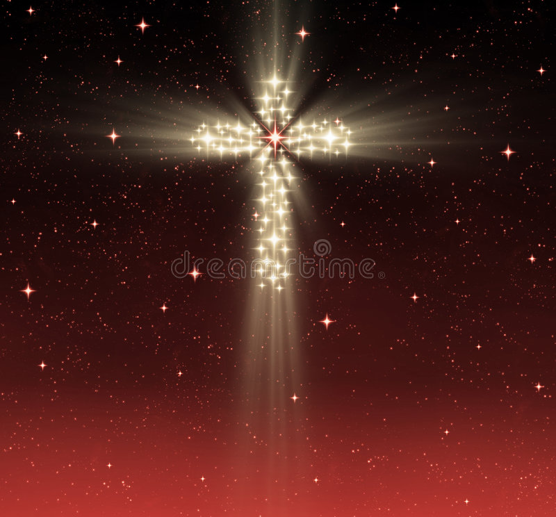 Christliches Kreuz in den Sternen vektor abbildung