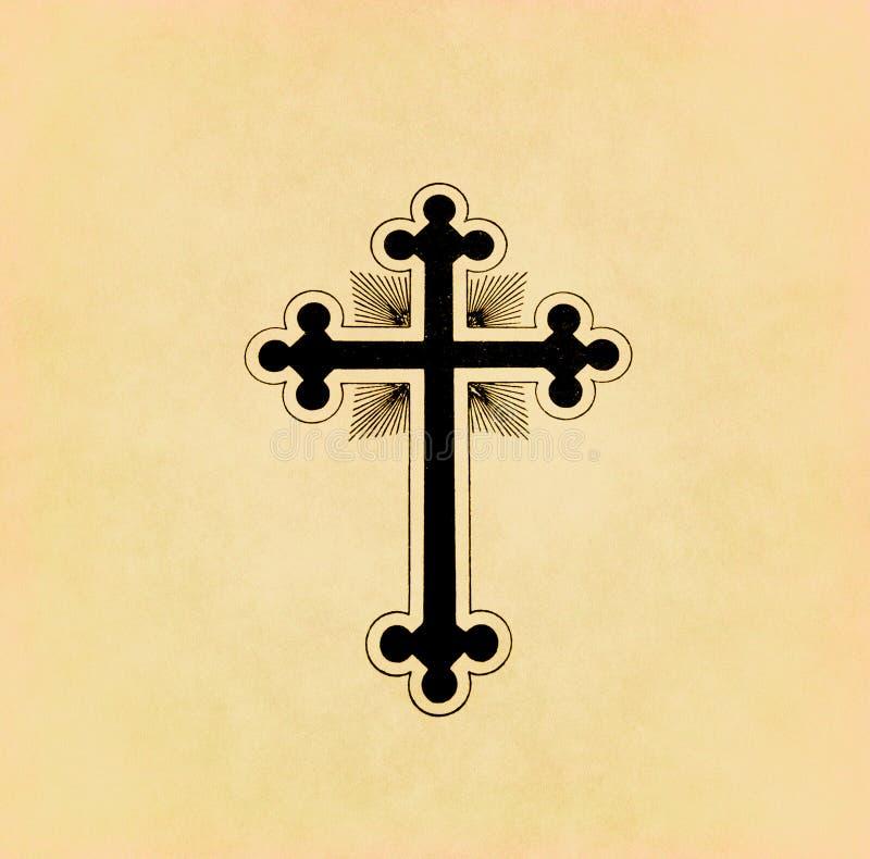 Christliches Kreuz der Weinlese auf Papier vektor abbildung