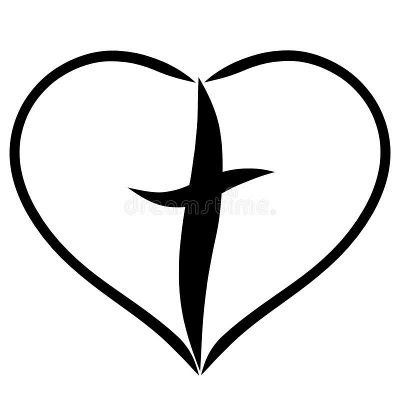 Christliches Kreuz im Herzen, Glaube im Gott, Rettung stock abbildung