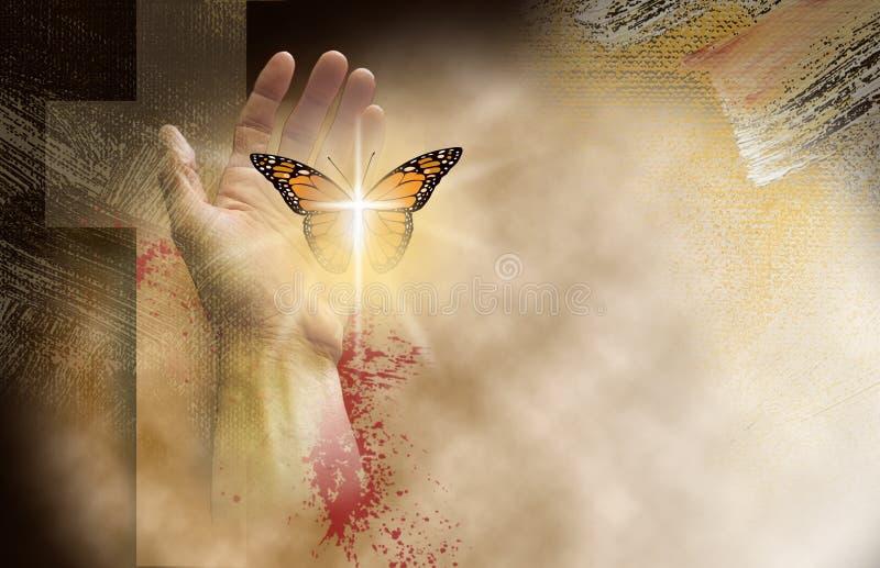 Christliches Kreuz mit der Hand, die empfindlichen wieder geboren Schmetterling frei einstellt stockfoto