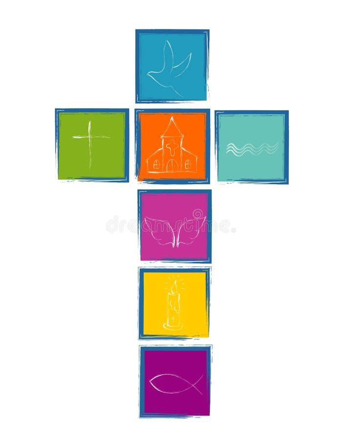 Christliches Kreuz mit religiösen Symbolen Kreuz mit bunten Quadrate Christsymbolen stock abbildung