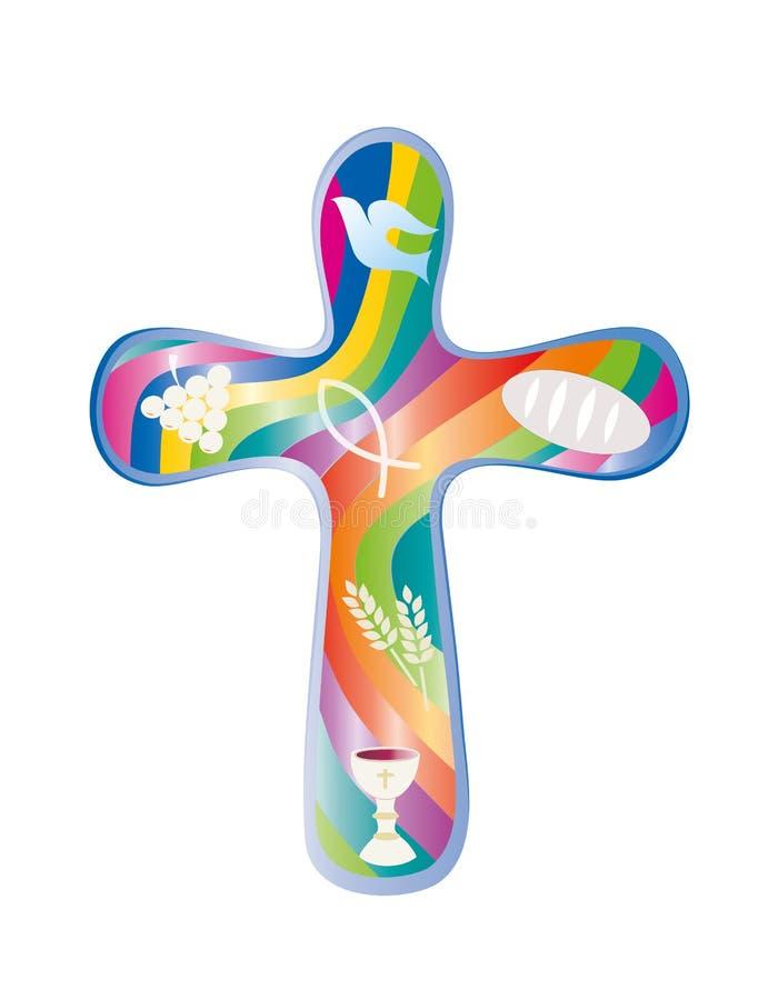 Christliches Kreuz rundete mit christlichen Symbolen auf buntem Regenbogenhintergrund lizenzfreie abbildung