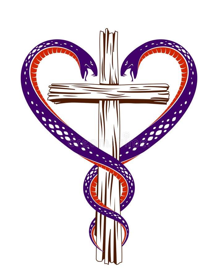 Christliches Kreuz und zwei Schlangen in einer Form des Herzens, Religionssymbolismus vektor abbildung