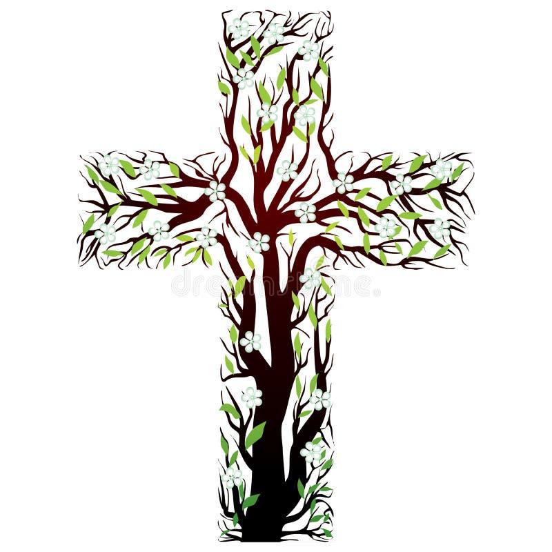 Christliches mit Blumenkreuz, Baumform lizenzfreie abbildung