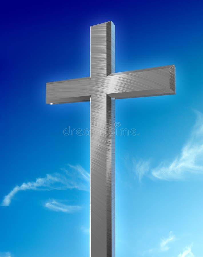 Christliches silbernes Kreuz lizenzfreie abbildung