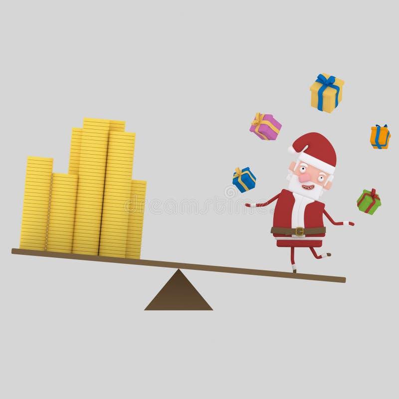 ChristmasÂs pengarjämvikt 3d vektor illustrationer