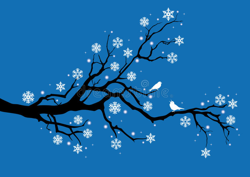 Christmas. Winter tree with snowflakes and birds royalty free illustration